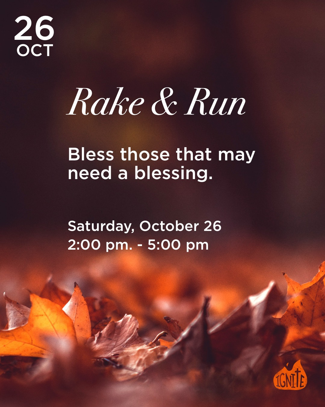 Rake & Run: Bless this that may need a small blessing. Saturday, October 26, 2pm-5pm